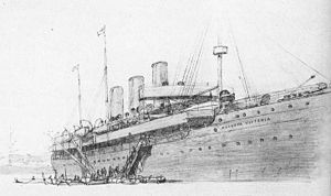 SS Augusta Victoria (1888) - Augusta Victoria docked at Piraeus on her first cruise, from C.W. Allers' Backschisch