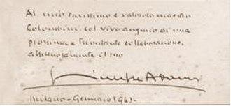 Giuseppe Adami - 1943 autograph