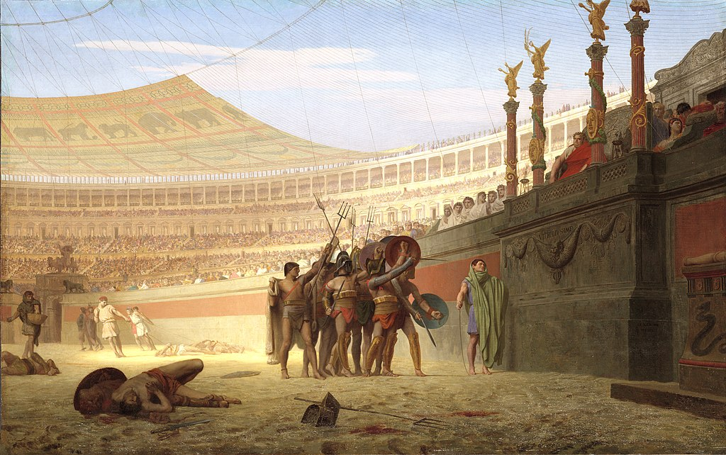 Somewhat stylized view from within a Roman arena; a group of around seven gladiators are picked out by the sunlight saluting the Emperor, their weapons and shields held aloft. The stalls for the immense audience stretch into the distance. On the ground a small number of the dead from previous combats lie where they fell in the sand.