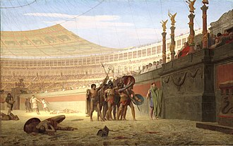 Ave Imperator, morituri te salutant - Ave Caesar Morituri te Salutant, by Jean-Léon Gérôme (1859), depicting gladiators greeting Vitellius