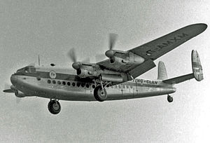 Hunting-Clan Air Transport - Hunting-Clan Avro York arriving at Manchester on the Africargo service in 1955