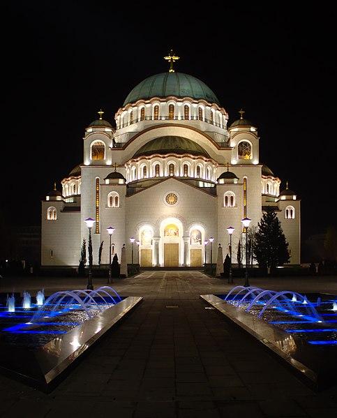 File:Bělehrad, Vračar, chrám svatého Sávy v noci II.jpg