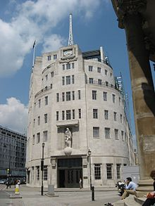 A photograph of Broadcasting House showing the art deco styling of the main façade, made from Portland stone