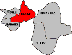 Map of Manyara Region's Districts