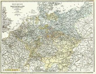 Rail transport in the Czech Republic - Image: Bahnkarte Deutschland 1899
