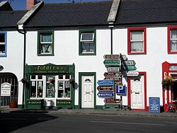 The junction at the centre of Ballyvaughan, still featuring the full signpost.