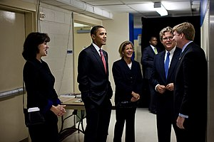 Kara Kennedy - Kara Kennedy with Vicki Kennedy, Barack Obama and her brothers, 2009.