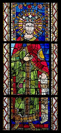 12th-century stained glass depiction of Henry II, Strasbourg Cathedral Bas-cote nord, baie VII Henricus Imperator Babinbergensis (dernier tiers XIIe).jpg
