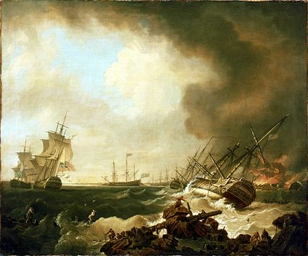 Battle of Quiberon Bay: the Day After (Richard Wright, 1760). The Dublin-class HMS Resolution is on her starboard side in the foreground Bataille-Cardinaux.jpg
