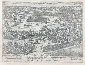 Battle of Heiligerlee 1568, showing the deployment of infantry bearing pikes and muskets, cavalry and artillery