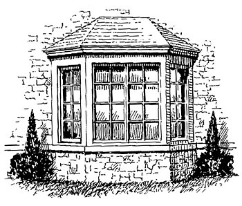 English: Line art drawing of a bay window. Fra...