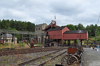 Beamish Museum - Reconstructed pitworks buildings showing winding gear
