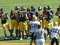 Bears in huddle at Colorado at Cal 2010-09-11 2.JPG