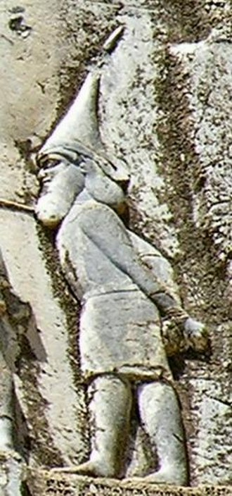 Saka - Captured Saka king Skunkha, from Mount Behistun, Iran, Achaemenid stone relief from the reign of Darius I (r. 522-486 BC)