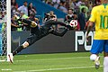Belgium goalkeeper Thibaut Courtois making a save during the match against Brazil, 6 July 2018.jpg