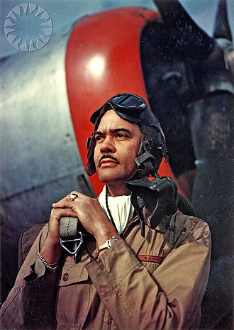 Benjamin O. Davis Jr. - Colonel Davis standing near the nose of a P-47 Thunderbolt, 1944
