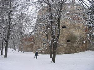 Berezhany - Berezhany Castle, ruins in winter (2005)
