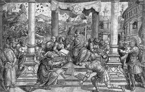 Dionysius of Halicarnassus - Bernard van Orley - Romulus Gives Laws to the Roman People - WGA16696