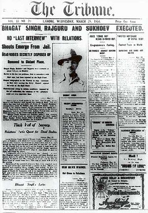 The Tribune (Chandigarh) - Image: Bhagat Singh's execution Lahore Tribune Front page