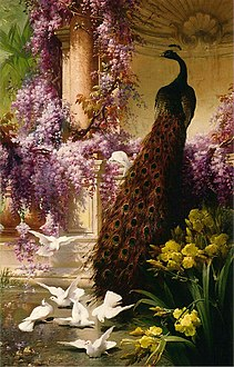 Bidau, Eugene - A Peacock and Doves in a Garden - 1888.jpg