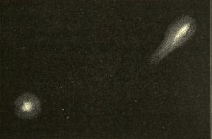 X/1872 X1 - Primary and secondary components of Biela's Comet, drawn by Secchi on its final observed return in 1852. Pogson's object was initially thought to be a recovery of Biela.