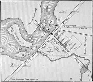 Billings Bridge - Map of Billings Bridge c.1879   Source:Illustrated Historical Atlas of the County of Carleton inc. City of Ottawa