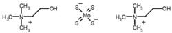 Bis-choline tetrathiomolybdate (molecular structure).png