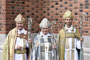 Antje Jackelén - Jackelén (center) as Archbishop of Uppsala on 6 September 2015, with Johan Dalman, Bishop of Strängnäs (left), and Mikael Mogren, Bishop of Västerås (right)