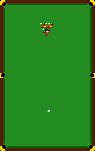 Blackball (pool) - Pool table with balls placed in their starting positions.