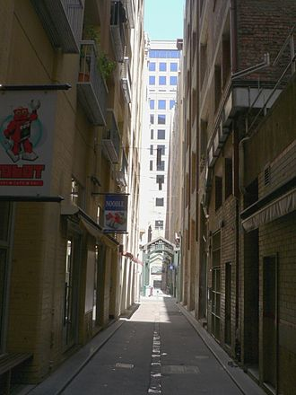 Lanes and arcades of Melbourne - Bligh Place, looking South from the Deanery through to the University Arcade