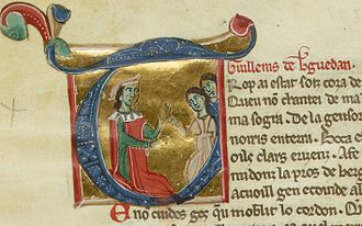 Guilhem de Berguedan - Guillem with two ladies, from a miniature of chansonnier I.