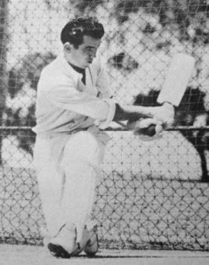 Bob Simpson (cricketer) - Simpson sweeps in the nets.
