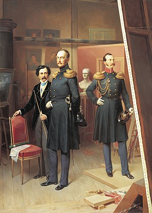 Bogdan Willewalde - Nicholas I with Alexander II in the artist's studio in 1854, (1884), oil on canvas, State Russian Museum.