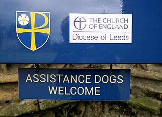 Assistance dog - Assistance Dogs welcome sign in Bolton Priory.