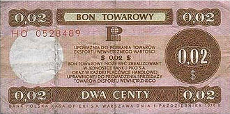 Pewex - Pekao checks were used in Pewex shops. This is an example of a US$0.02 note.