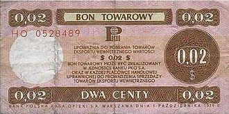 Bon (currency) - Polish bon towarowy, trade note