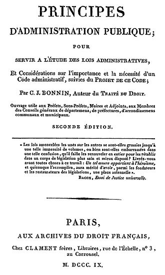 Charles-Jean Baptiste Bonnin - Public Administration Principles - 1809