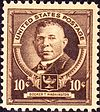 The postage stamp featuring Booker T. Washington.