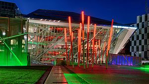 Bord Gáis Energy Theatre - Bord Gáis Energy Theatre with lights at night