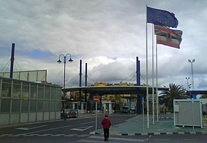 Gibraltar–Spain border - The border, as seen from the British side