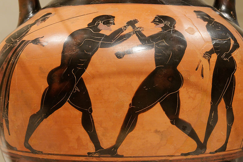 Painting of Greek Boxers on Amphora