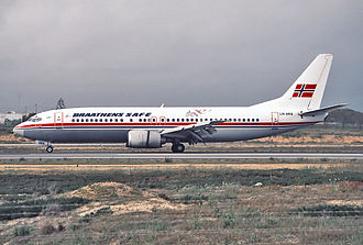 Braganza (company) - A Boeing 737-400 of Braathens SAFE, which was owned by Braganza