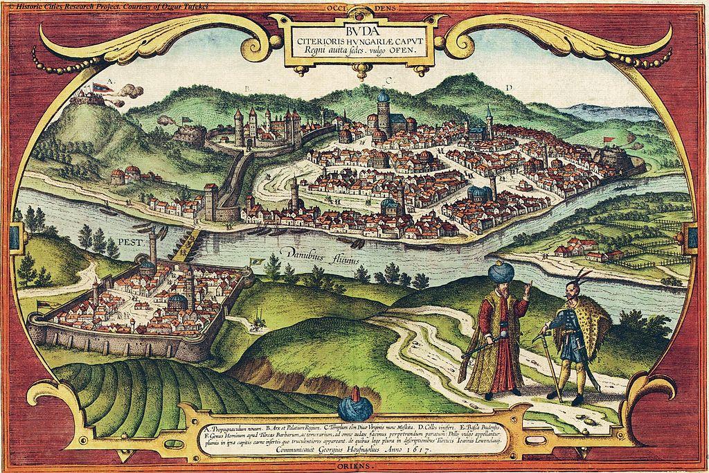 Buda sur la colline au 16e siècle lorsque Budapest était ottomane.
