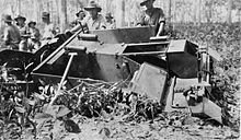 Bren Gun Carrier bogged in a ditch in Malaya.jpg