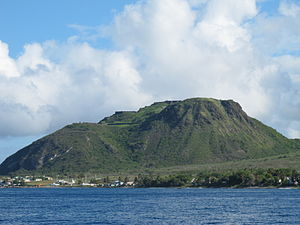 Brimstone Hill Fortress National Park - A view of Brimstone Hill from the sea, island of St. Kitts, 2010