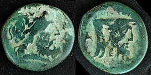 Achelous - Bronze coin struck in Oiniadai, c. 215 BC, depicting the river-god Achelous as man-faced bull on reverse.