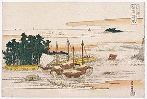 Hiroshige - Hiroshige studied under Toyohiro of the Utagawa school of artists. Returning Sails at Tsukuda, from Eight Views of Edo, early-19th century