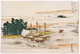 Hiroshige - Hiroshige studied under Toyohiro of the Utagawa school of artists. Returning Sails at Tsukuda, from Eight Views of Edo, early-19th century