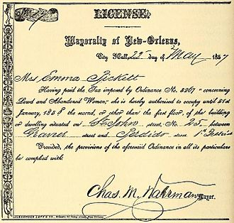 Charles M. Waterman (New Orleans) - Mayor Waterman's signature on an 1857 brothel license