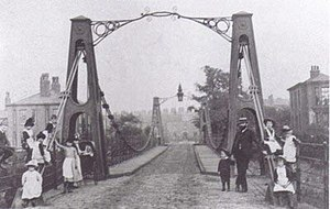 Broughton Suspension Bridge - The rebuilt Broughton suspension bridge in 1883